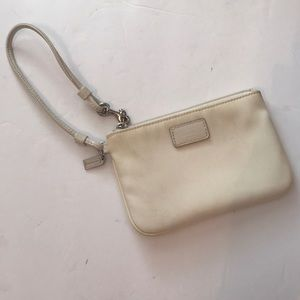 Coach nylon off white leather silver trim wristlet